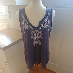 GARNET HILL Folkloric Embroidered Tank Top Blue